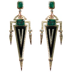 Emerald, Diamond and Onyx Dangle Earrings in 18 Karat Yellow Gold