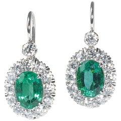 Emerald Diamond and Platinum, Cluster Earrings