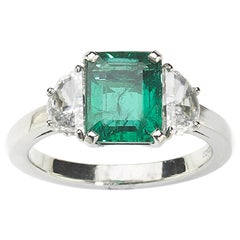 Emerald Diamond and Platinum Ring 2.00 Carat