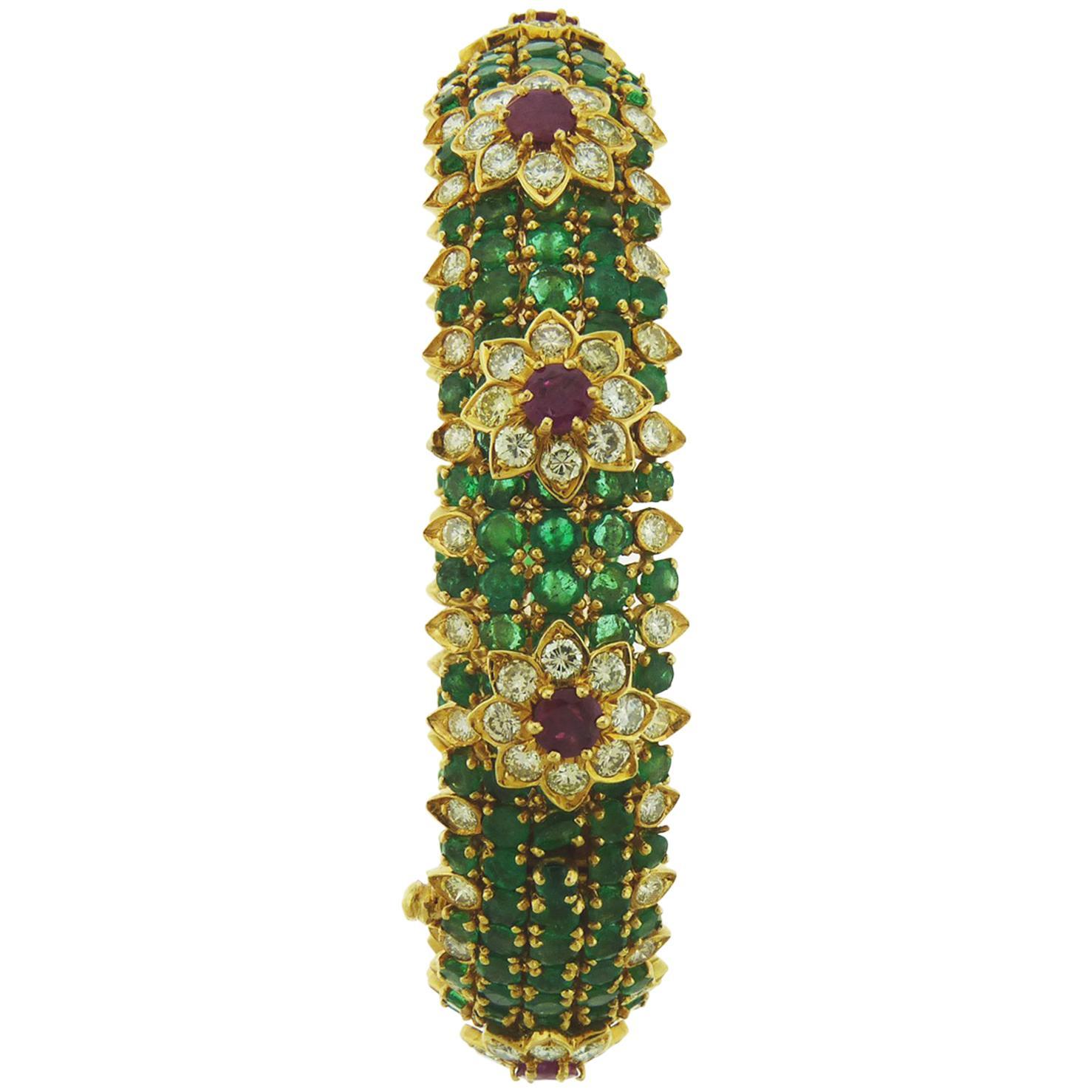 David Webb Emerald Diamond and Ruby 18 Karat Yellow Gold Bracelet