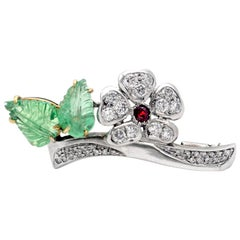 Emerald Diamond and Ruby Floral Brooch