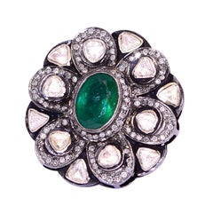Emerald Diamond Antique Style Ring