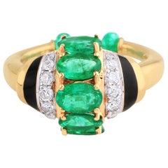 Emerald Diamond Art Deco Style 18 Karat Yellow Gold Ring