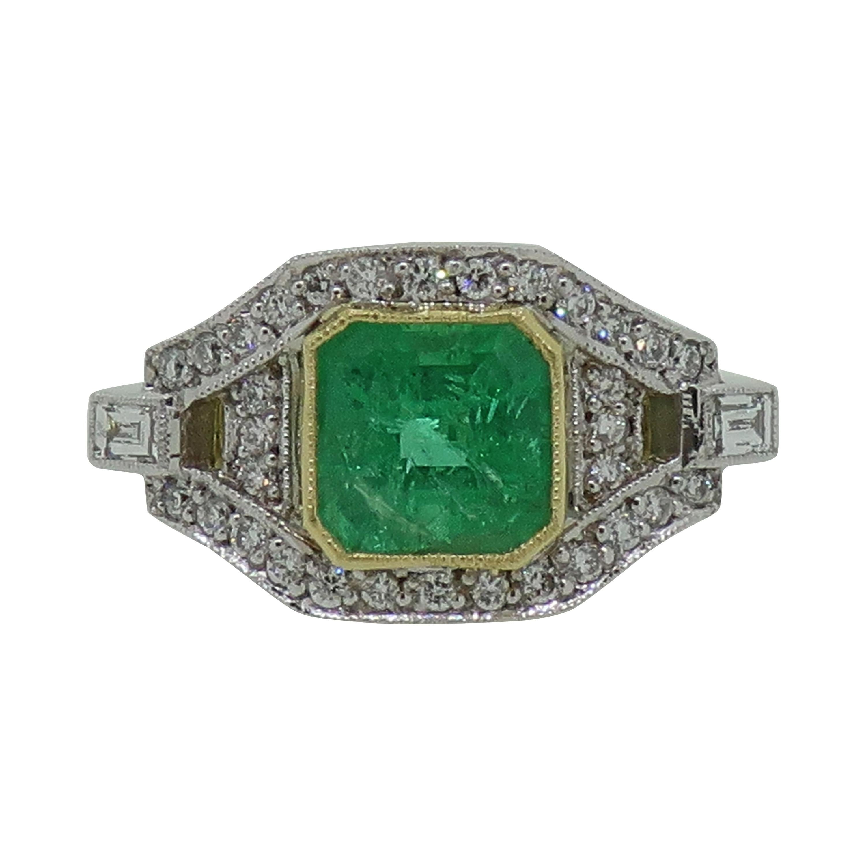 Emerald & Diamond Art Deco Style Cluster Ring 18 Karat Yellow & White Gold