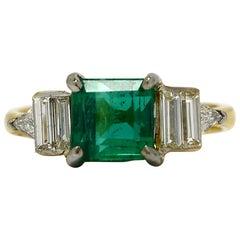 Emerald Diamond Art Deco Vintage Engagement Ring 2 Tone 18K White Yellow Gold