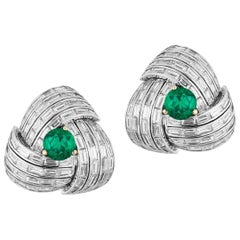 Emerald and Diamond Baguette Stud Earring