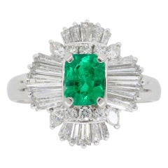 Emerald and Diamond Ballerina Style Cocktail Ring in Platinum