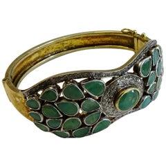 Emerald, Diamond Bangle Bracelet 18 Karat Gold on Silver