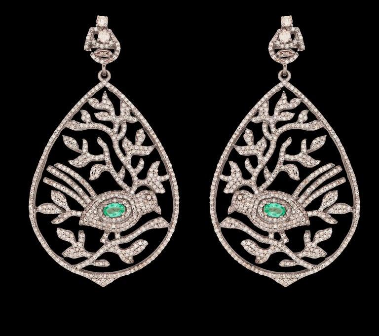 Emerald Cut Emerald & Diamond Bird Leaf Cocktail Earrings For Sale