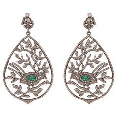 Emerald & Diamond Bird Leaf Cocktail Earrings