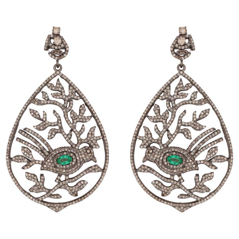 Emerald & Diamond Bird Leaf Cocktail Earrings For Sale