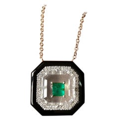 Emerald, Diamond, Black Onyx and Rock Crystal Pendant Chain Necklace
