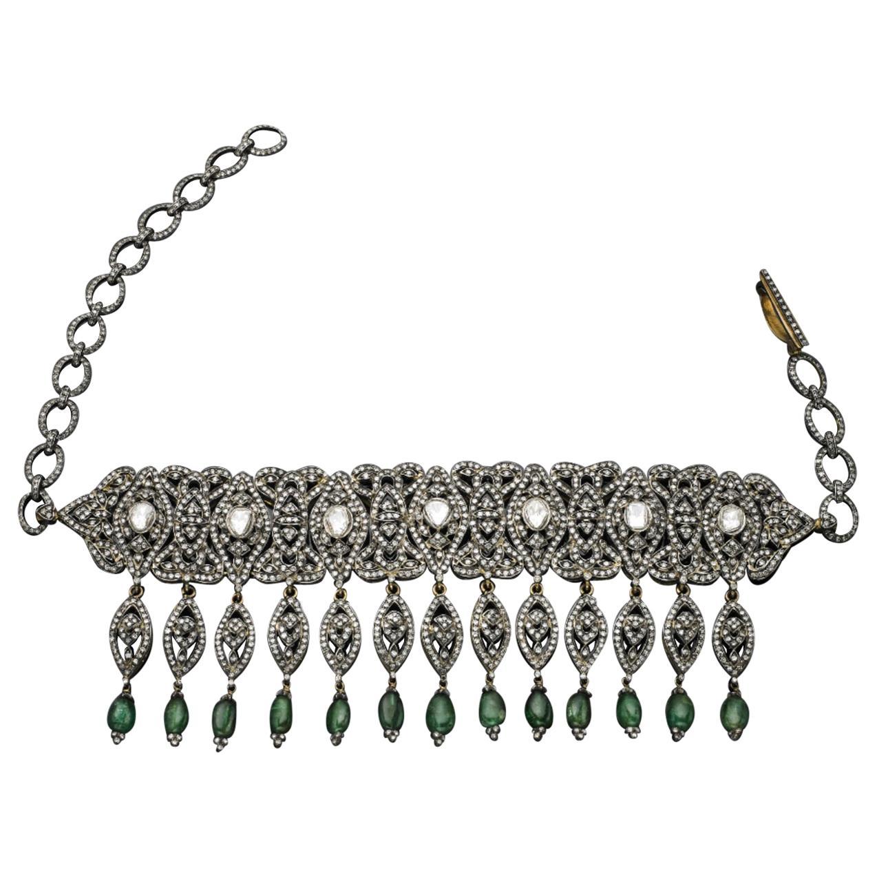 Emerald Diamond Choker Necklace