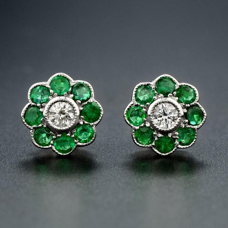 Art Deco Emerald Diamond Cluster Earrings For Sale