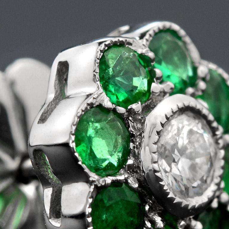 Women's Emerald Diamond Cluster Earrings For Sale