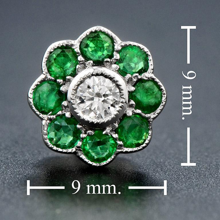Emerald Diamond Cluster Earrings For Sale 1