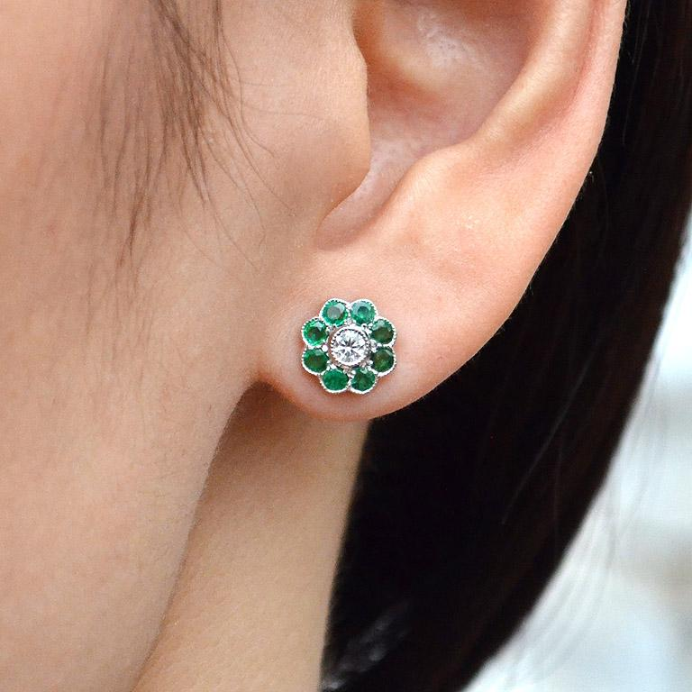 Emerald Diamond Cluster Earrings For Sale 2