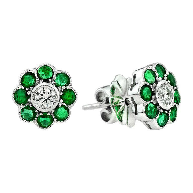 Emerald Diamond Cluster Earrings For Sale