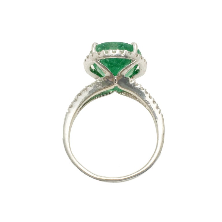 Oval Cut Emerald Diamond Cocktail Ring For Sale