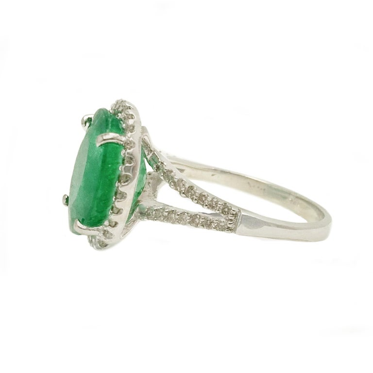 Women's or Men's Emerald Diamond Cocktail Ring For Sale