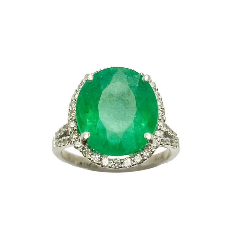 Emerald Diamond Cocktail Ring For Sale 1