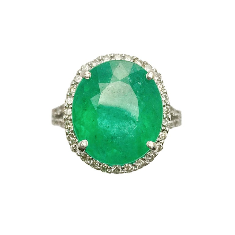 Emerald Diamond Cocktail Ring For Sale 2