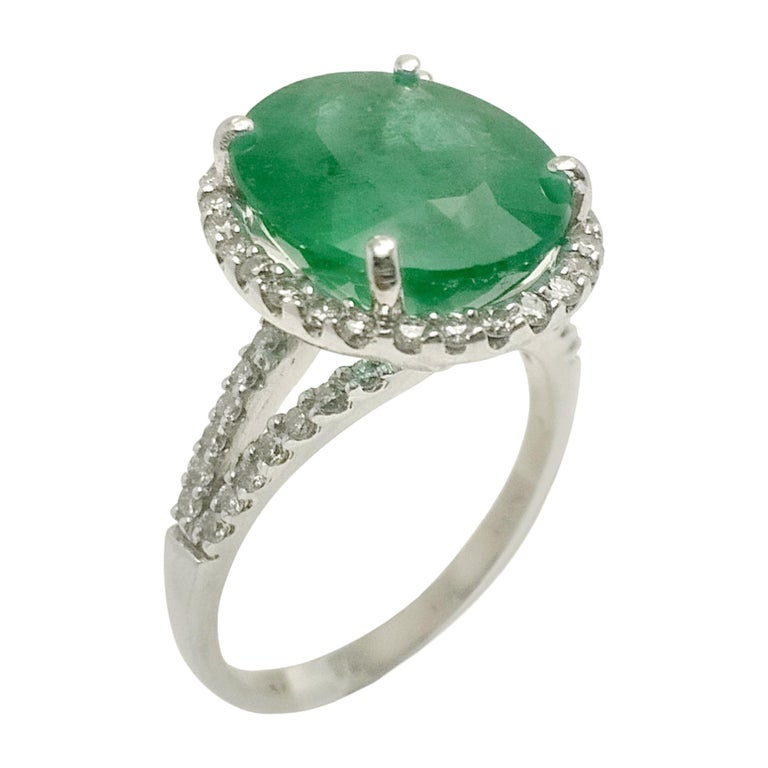 Emerald Diamond Cocktail Ring For Sale