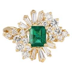 Emerald Diamond Cocktail Ring Vintage 18 Karat Gold Mixed Cut Estate Jewelry