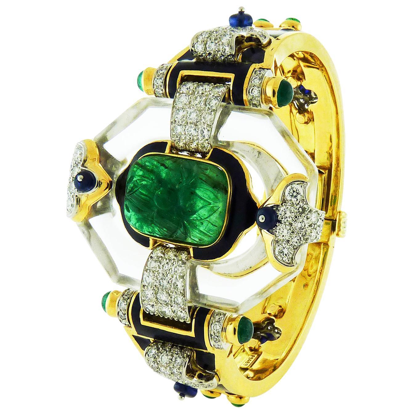 Emerald Diamond Cross River Bracelet by David Webb