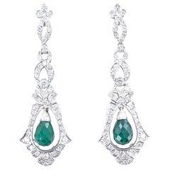 Emerald Diamond Deco Style Drop Earrings Platinum