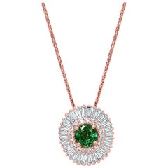 Emerald Diamond Double Halo Gold Ballerina Art Deco Style Pendant Chain Necklace