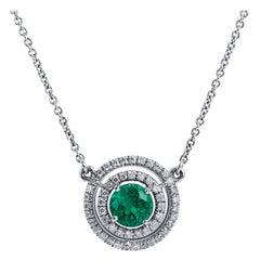 Emerald Diamond Double Halo Pendant Necklace