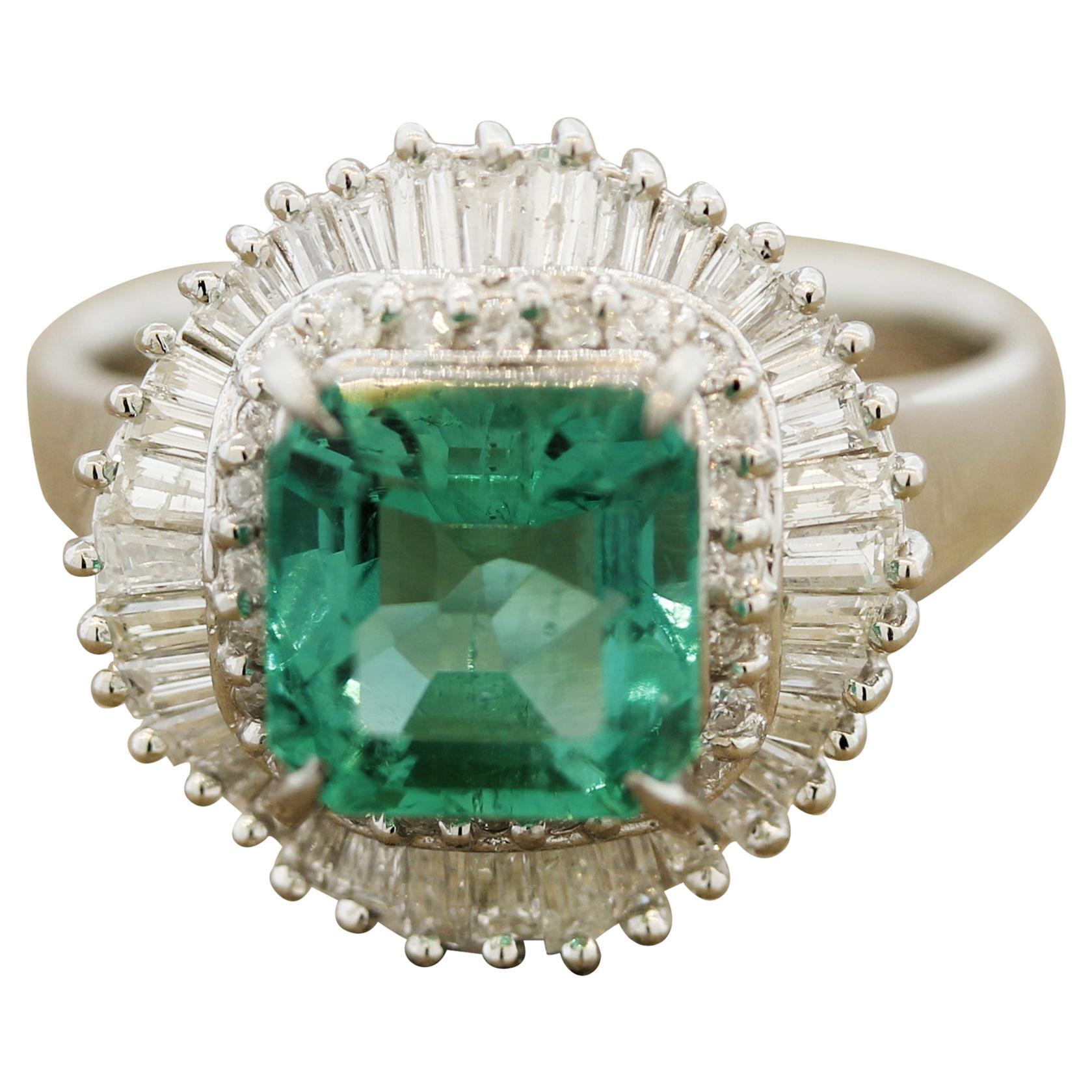 Emerald Diamond Double-Halo Platinum Ring