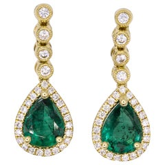 Emerald Diamond Drop Earrings 1.95 Carat 18 Karat Yellow Gold