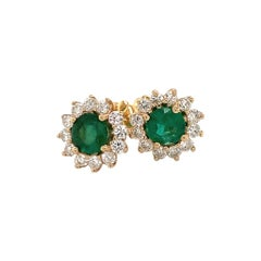 Emerald Diamond Earring 14 Karat 2.22 TCW Certified