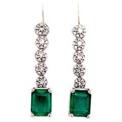 Emerald Diamond Earring 18 Karat 2.95 Carat Certified