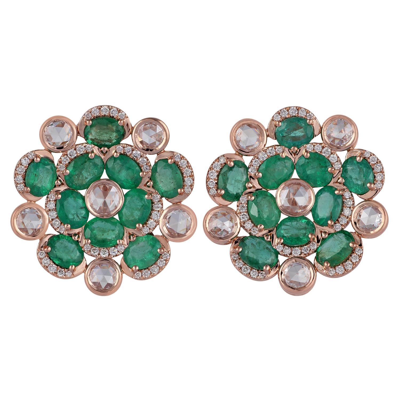 Emerald Diamond Earring in 18 Karat Rose Gold