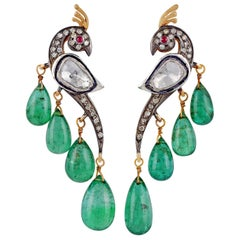 Emerald Diamond Earring in Victorian Style