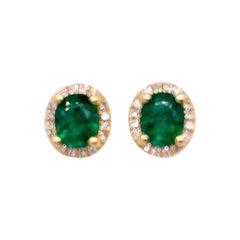 Emerald Diamond Earrings, 14 Karat Gold, .68 Carat Emerald, .10ct Diamond, Studs