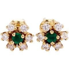 Emerald Diamond Earrings, Gold, .10ct Emerald, .24ct Diamond, Studs, Flower