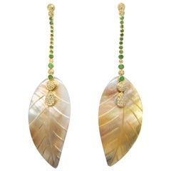 Emerald and Diamond Earrings in 18 Karat Gold and Silver Mother of Pearl Leafs