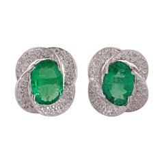 Emerald & Diamond Earrings Studded in 18K White Gold