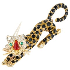 Emerald Diamond Enamel Yellow Gold Leopard Brooch