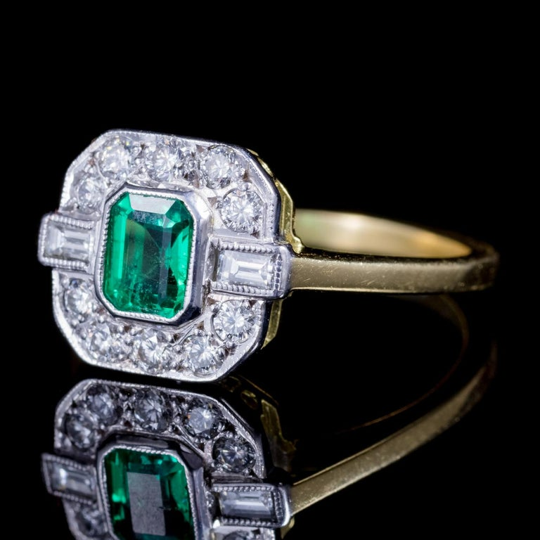 Emerald Diamond 18 Carat Gold Engagement Ring For Sale At
