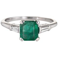Emerald Diamond Engagement Ring Vintage Platinum Gemstone Jewelry Estate