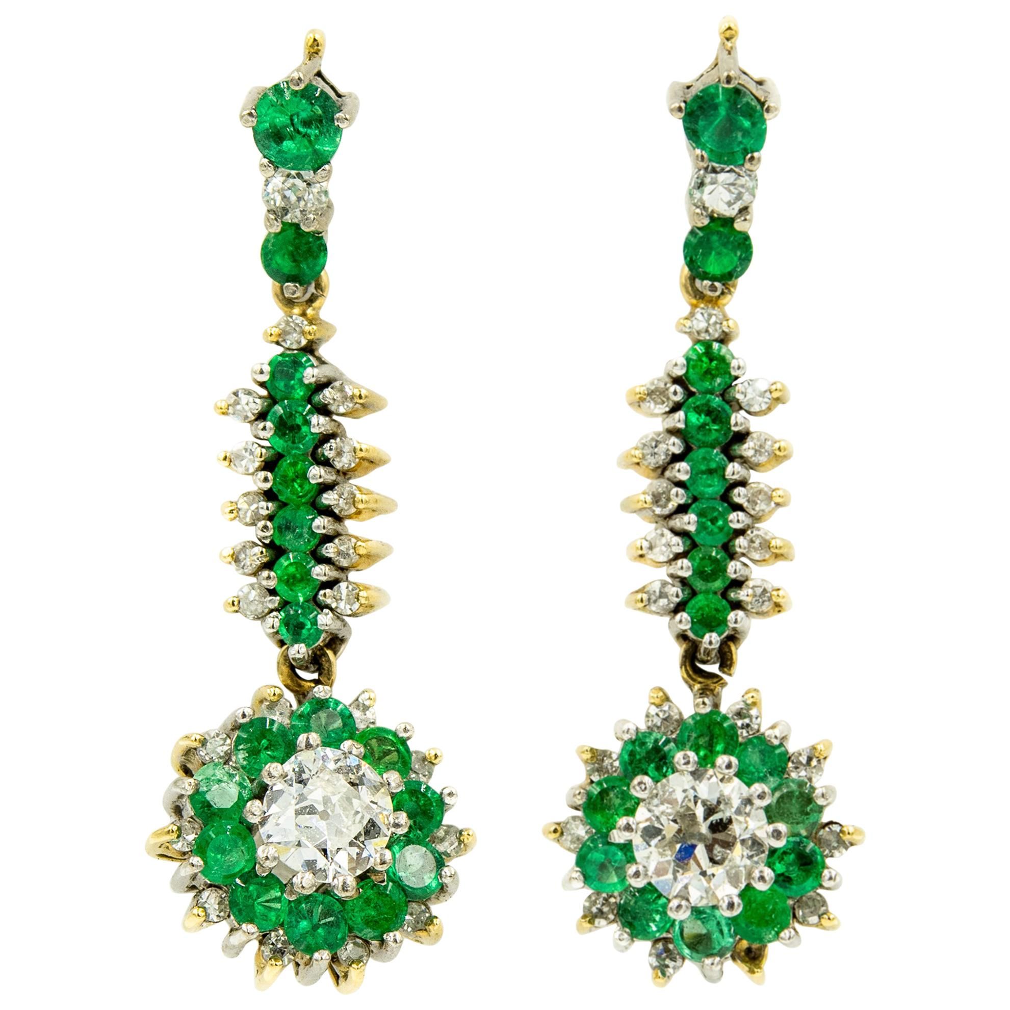 Emerald Diamond Floral Drop Dangle Gold Earrings