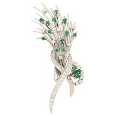 Emerald and Diamond Floral Spray Brooch Set in Platinum