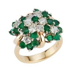 Emerald & Diamond Flower Cluster Ring