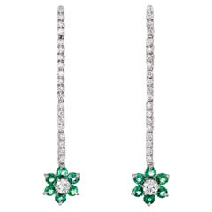 Emerald Diamond Flower Drop Earrings Estate 18 Karat Gold Long Dangle Vintage