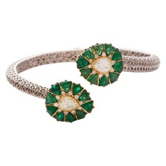 Emerald, Diamond Gold and Silver Crossover Fleurs de l'Inde Bangle